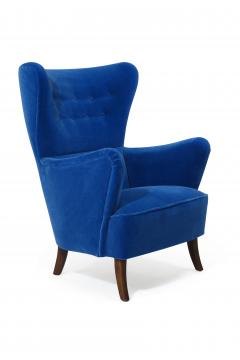 Erik W rts Erik Worts 1950s Highback Lounge Chair in Blue Mohair - 1519861