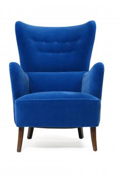 Erik W rts Erik Worts 1950s Highback Lounge Chair in Blue Mohair - 1519862
