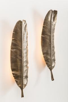 Erin Sullivan Flora Series Bronze Banana Leaf Sconces USA - 1164359