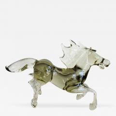 Ermanno Nason Pale and Clear Murano Glass Horse Signed by Ermanno Nason - 254897