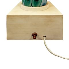 Ermanno Toso Fratelli Toso Large Table Lamp with Green and Blue Murrhines 1950s - 692192