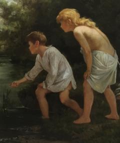 Ernest Etienne de Francheville Narjot Two Children Feeding Ducks in a Pond - 1587429