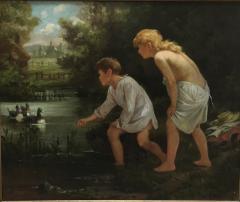 Ernest Etienne de Francheville Narjot Two Children Feeding Ducks in a Pond - 1587430