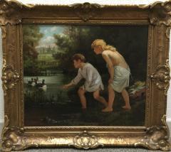 Ernest Etienne de Francheville Narjot Two Children Feeding Ducks in a Pond - 1587431