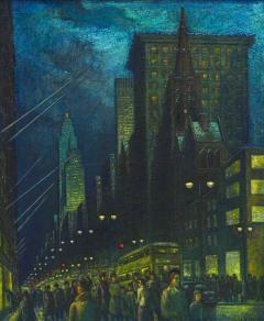 Ernest Fiene Winter Evening Fifth Avenue Night Scene - 2110358