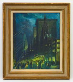 Ernest Fiene Winter Evening Fifth Avenue Night Scene - 2110359