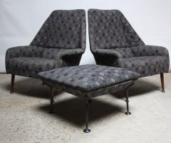 Ernest Race Pair of Ernest Race Lounge Chairs and Ottoman in Eames Upholstery - 374359