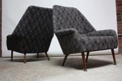 Ernest Race Pair of Ernest Race Lounge Chairs and Ottoman in Eames Upholstery - 374360