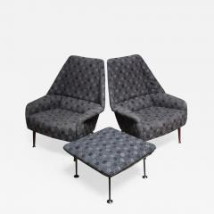 Ernest Race Pair of Ernest Race Lounge Chairs and Ottoman in Eames Upholstery - 378187