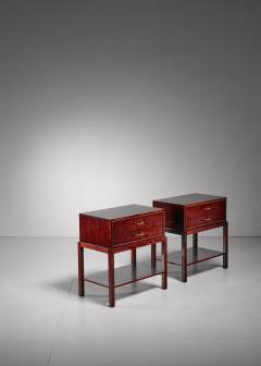 Ernst K hn Ernst K hn pair of mahogany nightstands Denmark 1930s - 877052