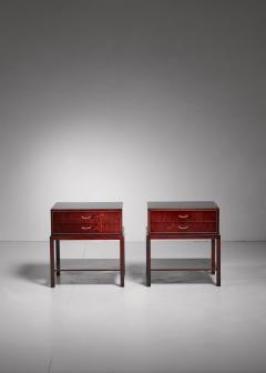Ernst K hn Ernst K hn pair of mahogany nightstands Denmark 1930s - 877053