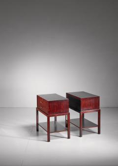 Ernst K hn Ernst K hn pair of mahogany nightstands Denmark 1930s - 877054