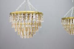 Ernst Palme Pair Of Crystal Glass Flush Mount Chandelier by Palwa Germany 1970s - 705555