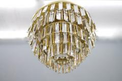 Ernst Palme Pair Of Crystal Glass Flush Mount Chandelier by Palwa Germany 1970s - 705556