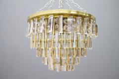Ernst Palme Pair Of Crystal Glass Flush Mount Chandelier by Palwa Germany 1970s - 705558