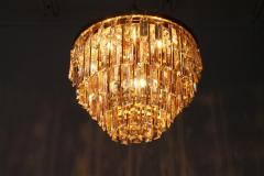 Ernst Palme Pair Of Crystal Glass Flush Mount Chandelier by Palwa Germany 1970s - 705562