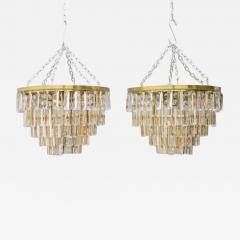 Ernst Palme Pair Of Crystal Glass Flush Mount Chandelier by Palwa Germany 1970s - 706719
