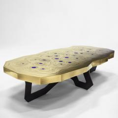 Erwan Boulloud Roeco Coffee Table in Brass Black Steel with Inlaid Lapis Lazuli by Atelier Eb - 1684464