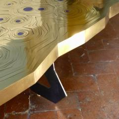 Erwan Boulloud Roeco Coffee Table in Brass Black Steel with Inlaid Lapis Lazuli by Atelier Eb - 1684468