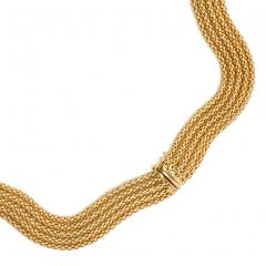 Estate French Woven Gold Collar Necklace of Undulating Design - 1633932