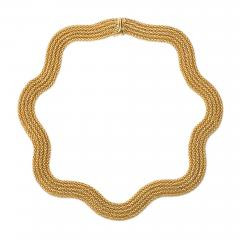 Estate French Woven Gold Collar Necklace of Undulating Design - 1636117