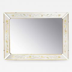 Etched and Reverse Gilt Mirrored Frame Art Deco Mirror with Foliate Detail - 383465