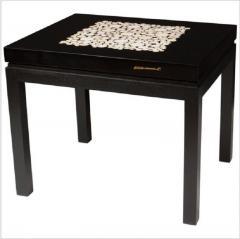 Etienne Allemeersch Rare pair of travertine inset resin side tables by Allemeersch - 1043489