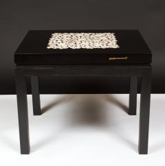 Etienne Allemeersch Rare pair of travertine inset resin side tables by Allemeersch - 1043490