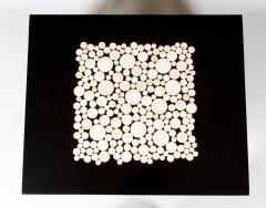 Etienne Allemeersch Rare pair of travertine inset resin side tables by Allemeersch - 1043492