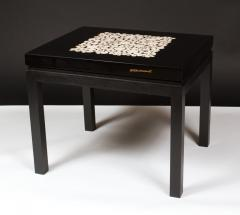 Etienne Allemeersch Rare pair of travertine inset resin side tables by Allemeersch - 1043493