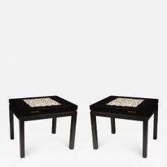 Etienne Allemeersch Rare pair of travertine inset resin side tables by Allemeersch - 1043894