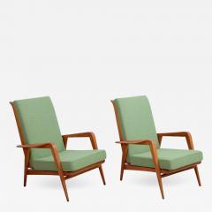 Etienne Henri Martin Pair of New Upholstered Etienne Henri Martin Lounge Chairs - 532719