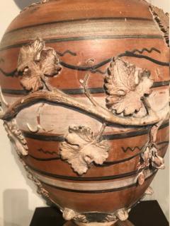 Etruscan style terracotta ewer with wine leaf motifs - 1397631