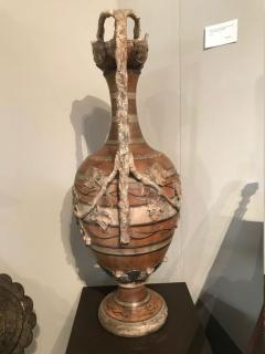Etruscan style terracotta ewer with wine leaf motifs - 1397633