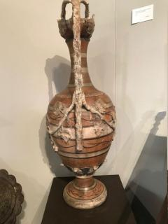 Etruscan style terracotta ewer with wine leaf motifs - 1397634