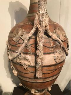 Etruscan style terracotta ewer with wine leaf motifs - 1397635