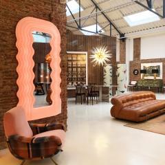Ettore Sottsass Ettore Sottsass Perplex And Pink Neon Lamp Ultrafragola Italian Mirror - 895885