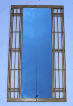 Ettore Sottsass Ettore Sottsass Style Oak And Blue Glass Two Piece Mirror - 1528279