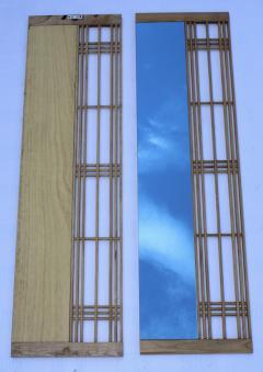 Ettore Sottsass Ettore Sottsass Style Oak And Blue Glass Two Piece Mirror - 1528283