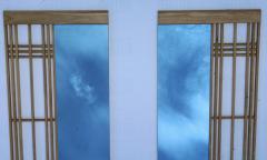 Ettore Sottsass Ettore Sottsass Style Oak And Blue Glass Two Piece Mirror - 1528285