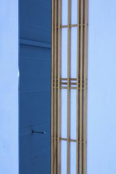 Ettore Sottsass Ettore Sottsass Style Oak And Blue Glass Two Piece Mirror - 1528288