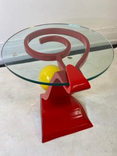 Ettore Sottsass ITALIAN POST MODERN MEMPHIS ENAMELED RED AND YELLOW METAL TABLE - 1779810
