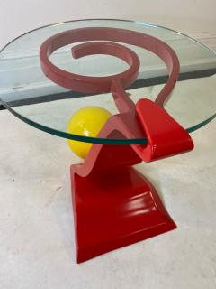 Ettore Sottsass ITALIAN POST MODERN MEMPHIS ENAMELED RED AND YELLOW METAL TABLE - 1779811