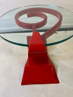 Ettore Sottsass ITALIAN POST MODERN MEMPHIS ENAMELED RED AND YELLOW METAL TABLE - 1779812
