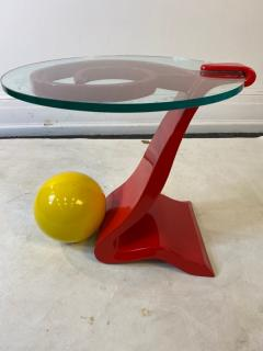 Ettore Sottsass ITALIAN POST MODERN MEMPHIS ENAMELED RED AND YELLOW METAL TABLE - 1779813
