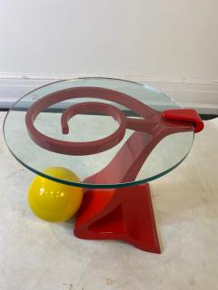 Ettore Sottsass ITALIAN POST MODERN MEMPHIS ENAMELED RED AND YELLOW METAL TABLE - 1779814
