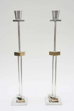 Ettore Sottsass Pair of Silver Plate Brass Candlesticks by Ettore Sottsass for Swid Powell - 257983