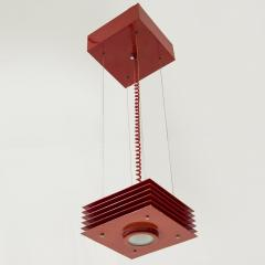 Ettore Sottsass Pending lights in red lacquered steel by Ettore Sottsass circa 1980 - 961774