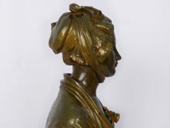 Eugene Laurent French Antique Bronze Sculpture Bust of Girl by Eugene Laurent Susse Freres - 1119693