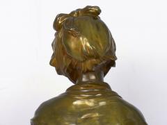 Eugene Laurent French Antique Bronze Sculpture Bust of Girl by Eugene Laurent Susse Freres - 1119696